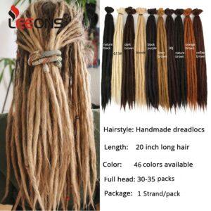 Leeons Handmade Dreadlocks Hair Extensions For Women 10/20Strands Handmade Dreads Synthetic Braiding Hair Crochet Braids Styles