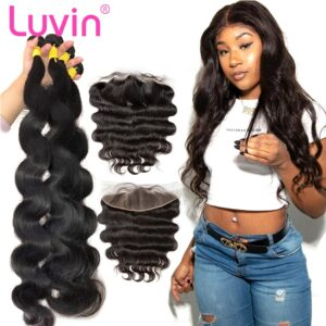 Luvin 28 30 32 34 40 Inch Brazilian Hair Weave 3 4 Bundles With 13×4 Lace Frontal and Closure Remy Body Wave 100% Human Hair