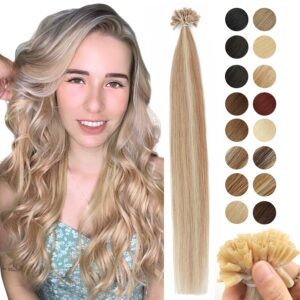 MRSHAIR Keratin Nail U Tip Hair Extensions Fusion Human Hair Extension Pre Bonded Capsule Non-Remy Straight 1g/pc 16 20 24 Inch