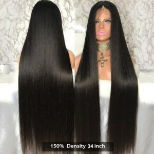 Malaika Straight 13×4 Lace Front Human Hair Wigs Brazilian Virgin Remy Hair For Black Women 360 frontal Full HD Transparent wig