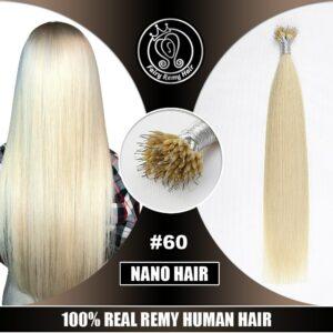 Micro Beads Hair On Capsule Real Remy Keratin Nano Ring Hair Extensions Human Hair 16″-22″ Platinum Blonde Highlight #60 40g