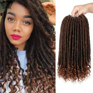 "Modern Queen 16″-20"" Goddess Faux Locs Crochet Hair Extensions Synthetic Crochet Braids Dread Locs Curly Hair Braiding Hair"