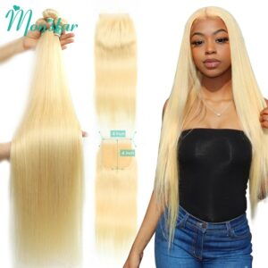 Monstar 613 Blonde Bundle with 4×4 Lace Closure Peruvian Straight Remy Human Hair 28 30 32 34 36 Inch 3 Bundles with 613 Closure