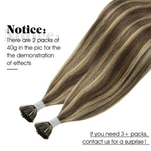 Moresoo Keratin Human Hair I tip Extension Machine Remy Brazilian Hair Natural Straight Pre-bonded Fusion 40G/50S Real Straight