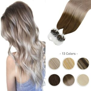 Moresoo Micro Ring Hair Extensions Human Hair Cold Fusion Invisible Microbeads Brazilian Pre Bonded Straight Machine Made Remy
