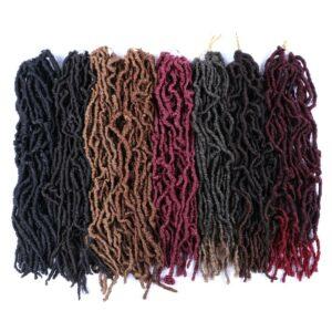 Mtmei Hair Faux Locs Crochet Hair Natural Curly Dreadlocks Hair Black Dark Brown Soft Locs Crochet Braids 18″ 21Strands/Pack
