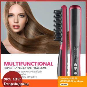 Multifunctional Hair Straightener Brush Styler Hot Comb Men Heat Ceramic Electric Beard Straightener Irons Straightening Brush