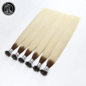 Nano Ring Human Hair Extensions Balayage Ombre Blonde Color #T6/60 16-22 Inch 0.8g/s Micro Beads Real Remy Human Hair 40g/pack