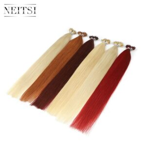 Neitsi Micro Beads None Remy Nano Ring Links Human Hair Extensions 20″ 1.0g/s 50g 100g Blonde Black Natural Straight 20 Colors