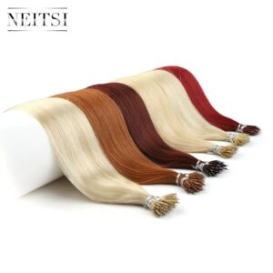 Neitsi Straight Micro Beads None Remy Nano Ring Links Human Hair Extensions 16″ 20″ 24″ 1.0g/s 50g 100g Blonde Black 20 Colors