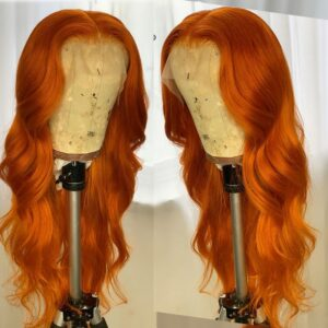 Orange Ginger Color 13×6 Lace Front Wigs Pre Plucked Brazilian Wavy Human Hair Wigs Glueless 180% Density Remy Lace Frontal Wigs
