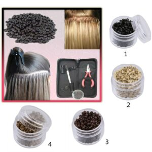 Pack of 500 5mm Silicone Lined Micro Nano Rings Beads for Hair Extension Tools Hair Care Styling Accessories Brown