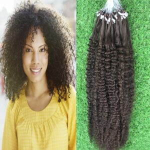 Peruvian Afro Kinky Curly Micro Ring Hair Extensions 1g/s Remy Natural Color #4 Micro Bead Loop Human Hair Extension 12-26inch