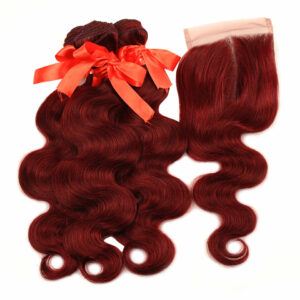 Pinshair 99J Hair Red Burgundy Bundles With Closure Brazilian Body Wave Human Hair 3 Bundles With Closure Remy Hair No Tangle