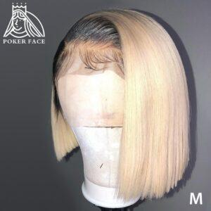 Poker Face Straight 613 Blonde 13×1 Lace Front Wigs T/1B 613 Short Bob Wigs Brazilian Human Hair Wigs 4X4 Lace Closure Wigs