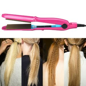 Professional Hair Crimper Curler Dry & Wet Use Corrugated Irons Ceramic Curling Iron with Temperature Control Waving Tool