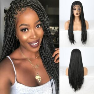 RONGDUOYI Heat Resistant Synthetic Lace Front Wigs For Women Long Braided Box Braids Wig Black Hair Cosplay Wig with Baby Hair