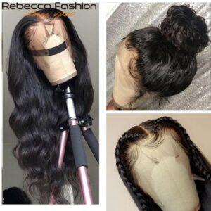 Rebecca Body Wave Lace Front Human Hair Wig with Baby Hair 180% Density Brazilian 13×4 Body Wave Lace Frontal Wig For Woman Remy