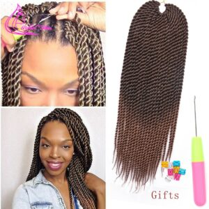 Refined Hair 0.8cm Diamater Handmade Crochet Braids Senegalese Twist Hair Extensions Ombre Brown Synthetic Braids 22Strands/pc