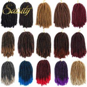 Saisity Ombre Hair Extension Crochet Spring Twist Crochet Braids Synthetic Braiding Hair Jamaica Bounce Fluffy Twist