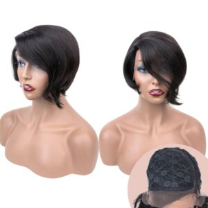 Sapphire Short Pixie Lace Wigs Pixie Cut Wig Straight Brazilian Remy Hair 150% Density Machine Made Human Hair Wigs For Women