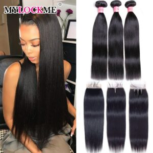Straight Bundles With Closure For Black Women 4Pcs/Lot Peruvian 100%Remy Human Hair Bundles With Closure 4×4 Swiss Lace MYLCOKME