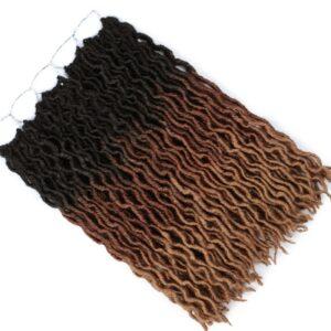Synthetic Hair Nu Locs Crochet Hair Braids Dreadlocks Goddess Faux Locs Curly Braid Soft 12 18Inch Wavy Preloop Crochet Braiding