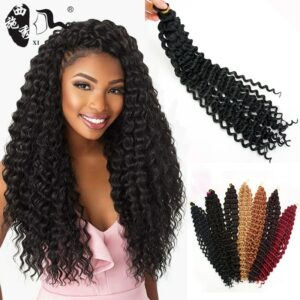 Synthetic ombre Afro freetress water wave crochet braiding hair extensions 20 inch long 80g per piece pre-loop hair bundles