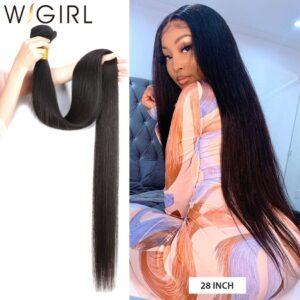 Wigirl Straight 28 30 32 40 Inch Virgin Remy Brazilian Hair Weave Human Hair Bundles Natural Color 100% Human Hair Extension