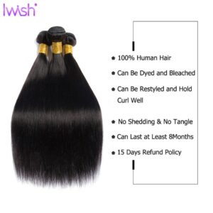 30inch Straight Human Hair With Closure Brazilian Hair Weave Bundles With Closure Natural Black Color 3/4 Remy Human Hair Weave
