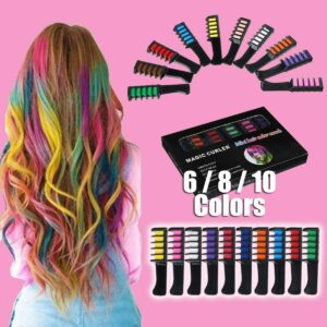 6/8/10 Color Set Temporary Hair Chalk Color Comb Dye Cosplay Washable Hair Color Comb for Party Makeup
