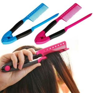 DIY Hair Salon Anti-static Hair Combs Blue Rose Red V Type Hair Straightener Comb Clip-Type Haircut Hairdressing Styling Tool