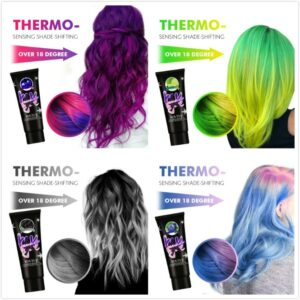 Thermochromic Color Changing Hair Dye Popular Color Number Purple Semi Permanent Paint Hair Color Dye Cream For Hair Styling