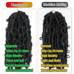 12 Inch 613 Blonde Synthetic Butterfly Faux Locs Crochet Braids Hair Extensions For Women 20 Strands Natural Black Braiding Hair