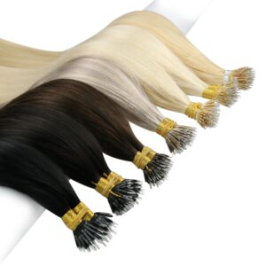 [8 colors] Ugeat Nano Ring Hair Extensions Human Hair Salon Quality Pre-Bonded Hair Remy Micro Link Hair 50strands/Set 40Grams